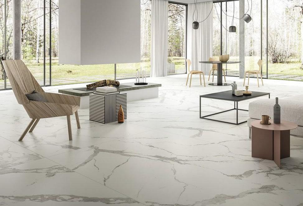 pavimenti gres porcellanato grandi formati esempio open space sala